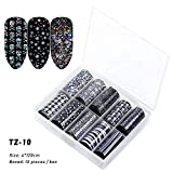 10 Pcs/Box Transparent Starry Sky Klebstoff 3D Dekals Folie für Nageltransfer Aufkleber für Nagelkunst Dekor für Maniküre Holografisch(TZ10)