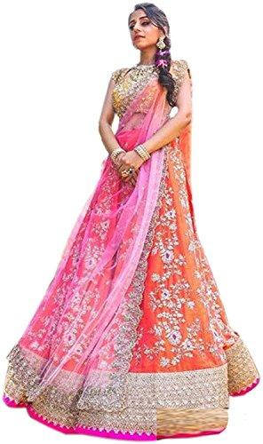 Krisha Creation Women's Silk Lengha Choli (KCN42_Orange_Free Size)