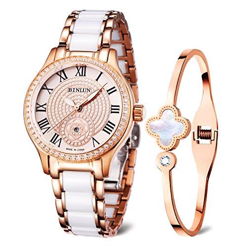 BINLUN Damen Analog Quarzwerk Uhr mit Keramik Armband Rosegold FBL0071L-CGW-A