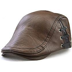 Roffatide Correas Cuero de PU Ajustable Plano Gorra Sombrero de Boina Golf Chapelas Otoño Invierno Marrón Claro