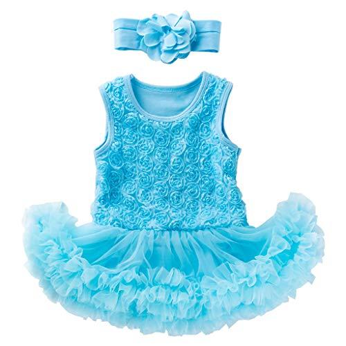 WUSIKY Tutu Sommerkleid 2 STÜCKE Kleinkind Baby Mädchen Sleeveless Flower Dress + Stirnband Outfits Set Prinzessin Kleid Geschenk für Kinder 2019 New Kid Tops(6-12/M73,Blau) (New Kid Kostüme 2019)