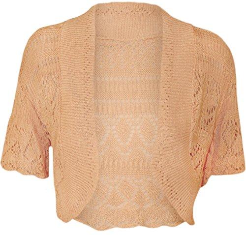 Die Fashion City® Damen Bolero Bauchfreies Top Short Sleeve Crochet Strick Offene Damen Strickjacke Top Plus Größen 8–22 Gr. 34-36, pfirsich