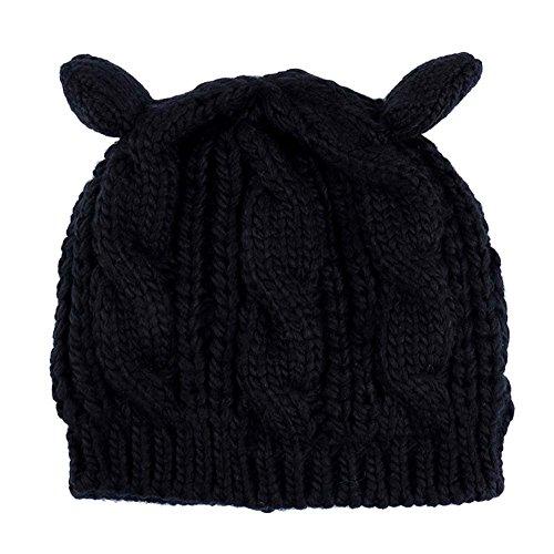 Qualilty Women Winter Beanie Cat Ear Knit Ski Wool Cap (Cat Beanie Knit Ear)