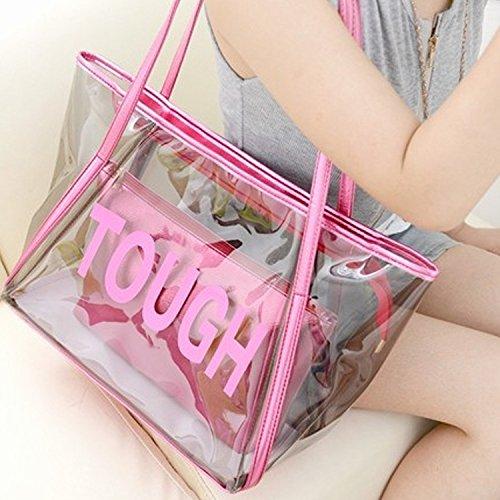 Clear backpack – Yuhemii NEUF à la mode Lettre Sac à bandoulière femelle pour femme Transparent Candy Sac à main Sac de plage Grande