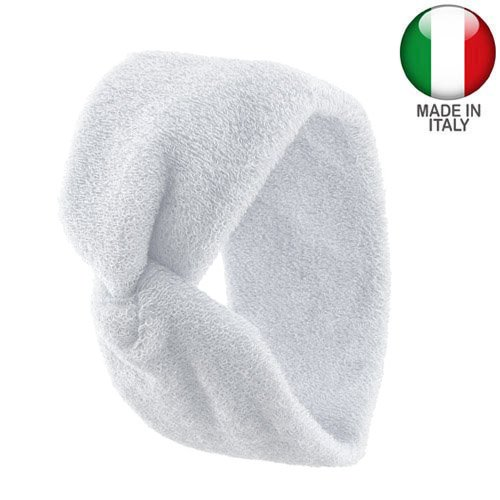 1110 - Bandeau pour cheveux en éponge de coton de 7 cm avec nœud central - fabriqué en Italie larghezza cm 7 x 10 lunghezza Bianco