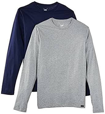 Lee Men Twin Pack Crew Long Sleeve T-Shirt, Multicoloured, Large