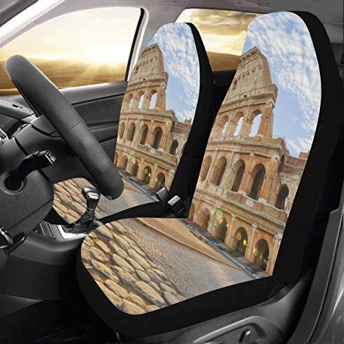JOCHUAN Coprisedili per Uomo Famoso Colosseo a Roma Italia Universal Fit Auto Coprisedili per Auto Protezione per Camion Auto SUV Veicoli Donna Lady (2 Anteriori) Carrello Copris