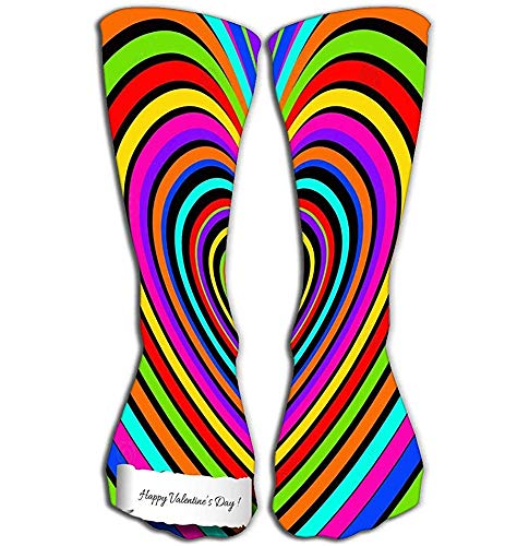 Calcetines de la novedad de las muchachas de las mujeres 50 CM Funny Boot Sock arco iris corazón fondo decoración amor feliz