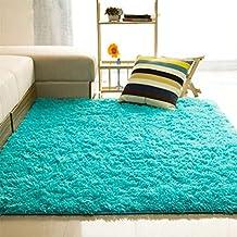 Alfombra suave rectangular y antideslizante para la habitación, el dormitorio o el salón, azul (zafiro), 40*60cm