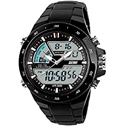 QBD Boy's Students Digital-analog Multi Function Watch- 50M Waterproof- Dual dispaly time zones, alarm , stopwatch, LED backlight, FREE luxury gift box (Sk black)