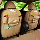 #10: Woogor 1 Pcs Pu Leather Auto Suv Car Seat Back Organizer For Tissue Phone Ipad Umbrella Cup Keys Holder Travel Storage Bags, Beige Color
