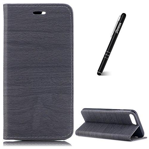 Coque iPhone 8 Plus Gris,Etui iPhone 7 Plus/8 Plus Portefeuille,Slynmax Étui en PU Cuir [Motif D'arbre] Case Porte-carte Fermoir de TPU Silicone Coque pour iPhone 7 Plus/8 Plus -Série Retro