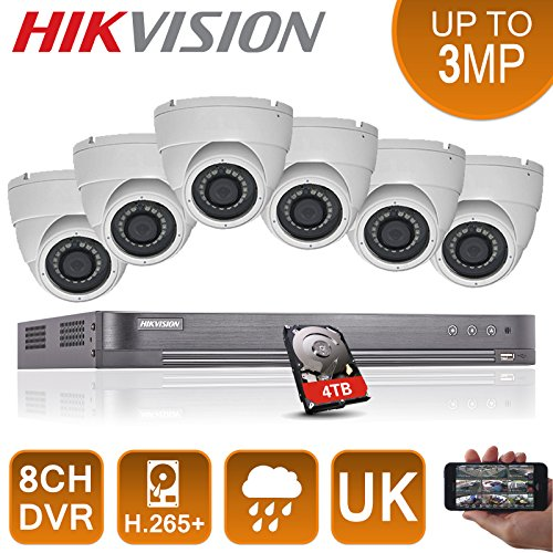 Kit professionale cctv – 8 ch hikvision dvr & 6 x 1080p full hd camera 20 m (bianco)