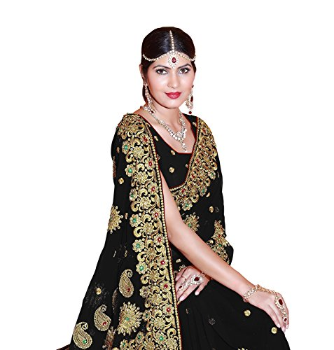 SOURBH Women's Faux Georgette Embroidered Bridal Wedding Saree (3437_Black)