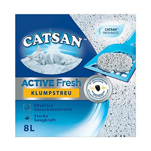 Catsan Katzenstreu Active Fresh, Klumpstreu mit Zusatz von Duftstoffen, natürliche, weiße Körnchen für zuverlässige Klumpenbildung, 2 Packungen (2 x 8 l)
