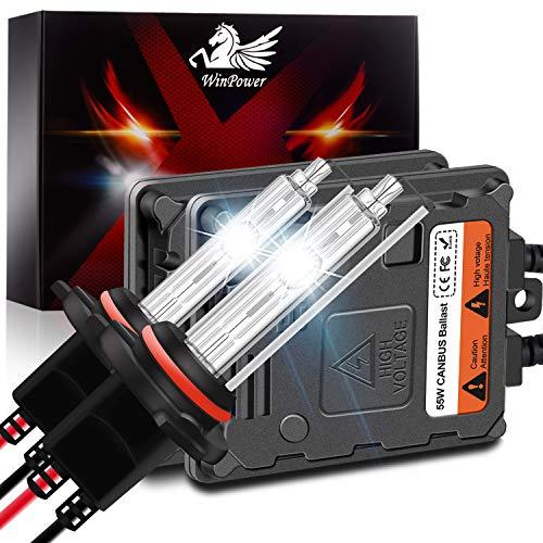 WinPower Hir2/9012 55W AutoHID Xenon Kit mit Vorschaltgerät und CAN-Bus Super DecoderScheinwerfer Ersatz Birne 6000K Reines Weiß,2 Stücke