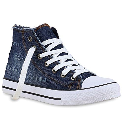 Damen High Top Sneakers Denim Jeans Sportschuhe Schnürer Dunkelblau