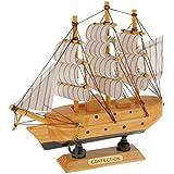Maquette de Voilier en Bois Bateau à Voile Décoration Méditerranéen Artisanal Craft