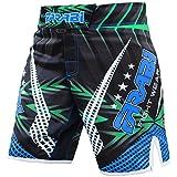 Farabi MMA boxeo Kickboxing, Muay Thai y artes marciales Mix jaula lucha entrenamiento de gimnasio desgaste ropa pantalones cortos troncos (azul negro, tamaño mediano)