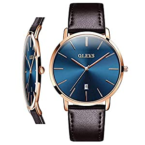 OLEVS Mens Wrist Watches Ultra Thin 6.5mm Minimalist Brown Leather Blue Dial Watch Business Dress Waterproof Date Slim Watches for Men