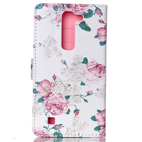 Coque pour LG G4C, LG G4c Housse Etui, LG G4c Portefeuille Cuir Coque Folio Etui, LG G4C Wallet PU Leather Case Silicone Case Flip Cover, Ukayfe Protecteur Housse de Protection Étui Coque Magnetic Fli Roses