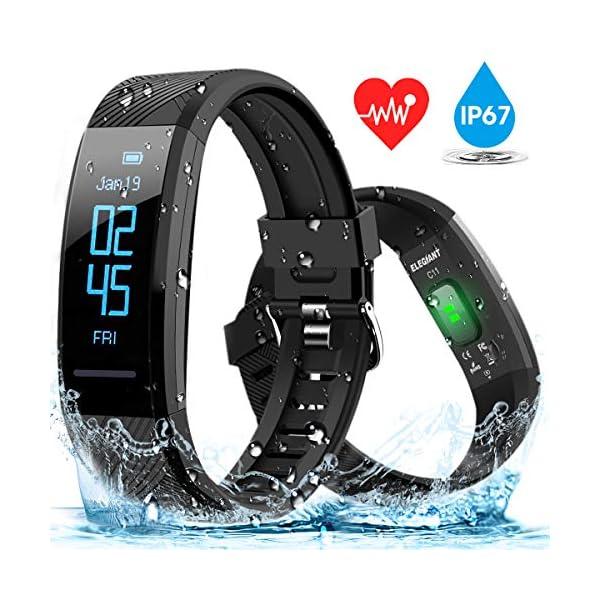 ELEGIANT Pulsera de Actividad Inteligente Reloj Deportivo IP67 para Hombre Mujer con GPS Monitor de Sueño Podómetro… 1