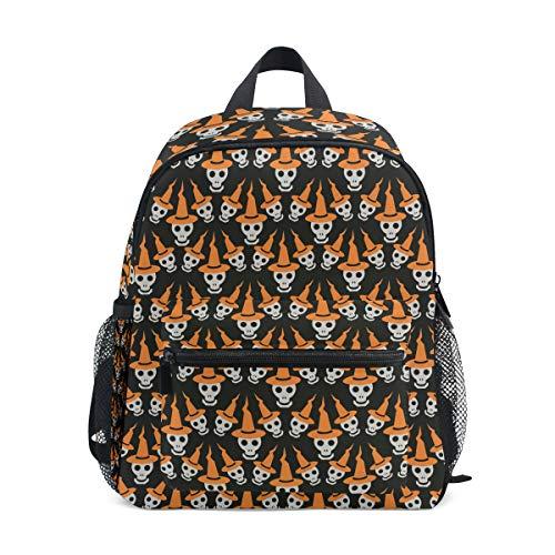 Mini Rucksack Daypack Cartoon lustige Halloween Schädel Hut Pre-School Bag Lightweight für Mädchen Jungen Kinder