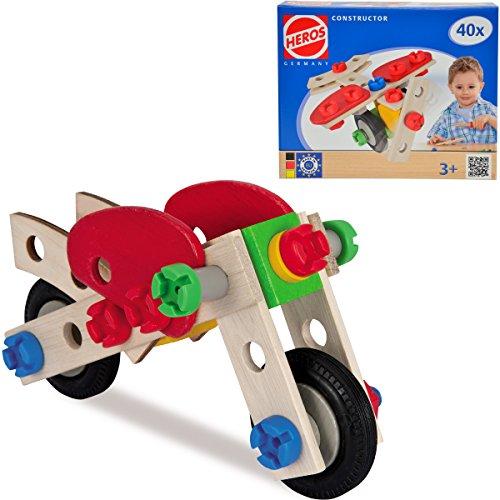 Constructor Motorrad und Flugzeug, 40 Teile FSC zertifiziert: Fahrzeug Bausatz Holz Bau Set Konstruktions Spielzeug