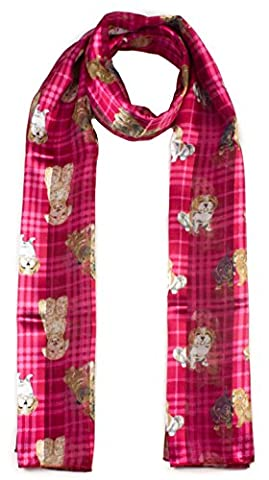 Mytoptrendz® Dog Printed Ladies Scarf Red Small Dog Breeds Design Printed Scarf Lightweight Soft Tartan Check Style Women Girls Scarf Shawl Wrap in Red