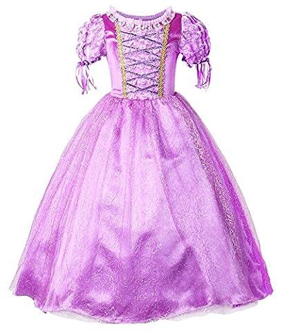 JerrisApparel Princesse Raiponce Costume Robe de fête Robe de fille (130cm, Violet)
