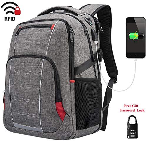 Laptop Rucksack Herren 17 Zoll Damen Business Rucksack mit USB Ladeanschluss Wasserdichte Schulrucksack Reiserucksack für Arbeit Schule Jungen Teenager Männer