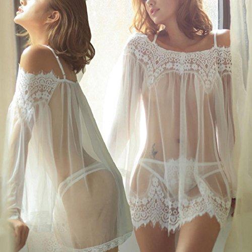 EUzeo _Women Underpant -  Camicia da notte  - Donna White