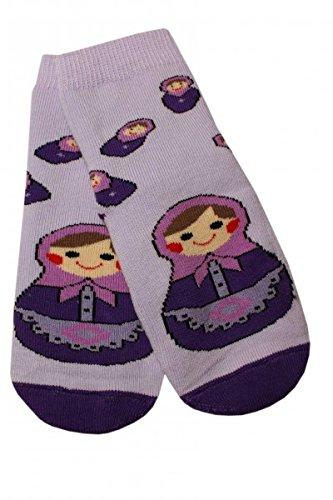 Weri Spezials Baby Voll-ABS Socke Matrjoschka Motiv in Flieder Gr.17-18 (6-9 Monate)