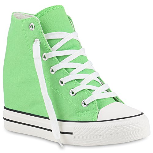 Damen Sneakers Stoff | Sneaker Wedges Blumen | Camouflage Sneaker Keilabsatz | Details Schuhe Zipper Denim Hellgrün