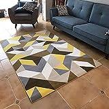 JJZLY Teppichunterlage Teppich Geometrische Quadratische Wolldecke Schlafzimmer Wohnzimmer Pad Haushalt Polyester Teppichgröße Optional Treppenstufe,120 * 160 cm