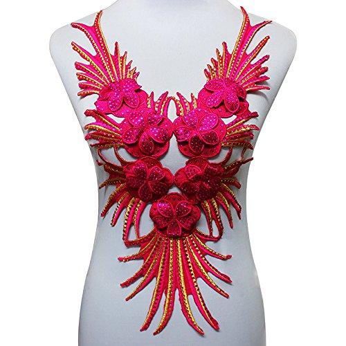 2Perlen Strass Spitze Halsband Patches afrikanischen Kordel Spitze Stoff Motive-Applikation Eisen auf Aufkleber für Craft Kleidung rose carmine -