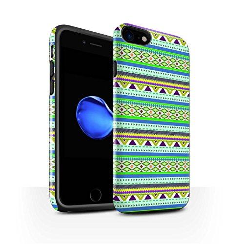 STUFF4 Glanz Harten Stoßfest Hülle / Case für Apple iPhone 8 / Grün Muster / Aztekische Stammes Muster Kollektion Grün/Lila