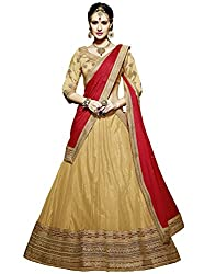 DesiButiks Wedding Wear Magnificent Chickoo Soft Net Lehenga