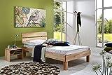 SAM® Massiv-Holzbett in Buche natur geölt, Bett mit geteiltem Kopfteil, natürliche Maserung, massive widerstandsfähige Oberfläche in zeitlosem Naturton, 90 x 200 cm