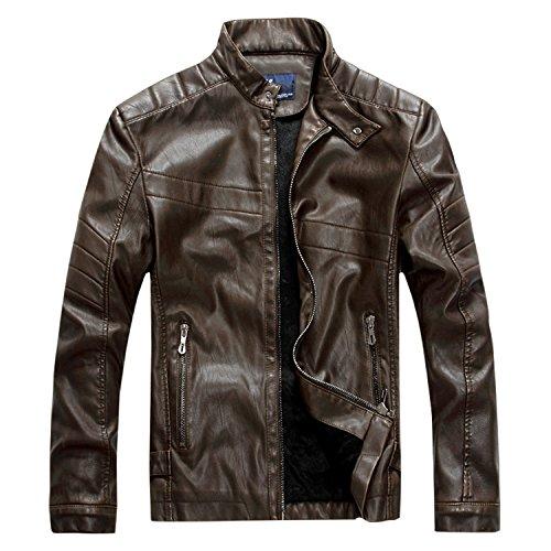 Finrosy Lederjacke Herren Biker Motorrad Kunstleder Jacke Stehkragen Tailliert Slim Fit Zipper Gesteppt (M, Dunkel Braun)