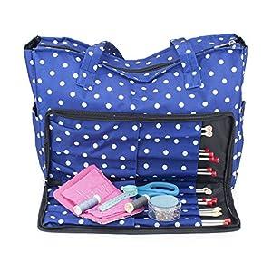 aee228e79 Aguja de tejer bolso de hombro, accesorios de costura y manualidades de  almacenamiento organizador caso en azul marino lunares