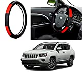 #5: Auto Pearl - Adinox Premium Quality Ring Type Car Steering Wheel Cover (Gold Blaze Black N Red) For -Jeep Compass