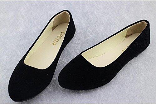 LvYuan Scarpe da donna / pelle scamosciata / ufficio & carriera / tacco piatto / comodità casual / moda casual / mocassini & scarpe da ginnastica / scarpe pigro camminate Black