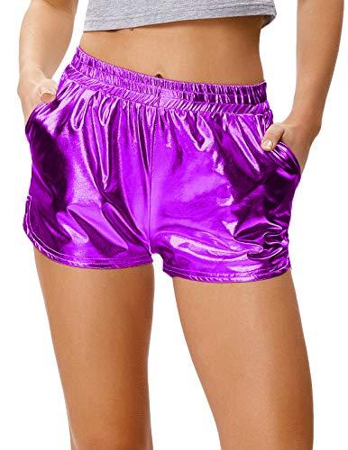 Kate Kasin Sport Yoga Hot Pants Glänzende Metallic Boxer Kurze Hose Lila (862-7) Medium