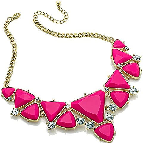 Pink triangle imitation stones & crystals statement gold plated costume fashion jewellery choker