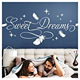 Wandora Wandtattoo Spruch Sweet Dreams I Taupe (BxH) 164 x 75 cm I Sterne Federn Schlafzimmer Kinderzimmer Sticker Aufkleber Wandaufkleber Wandsticker W1483