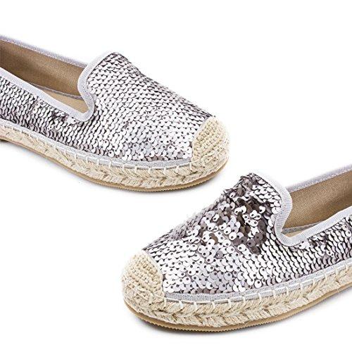 Marimo Damen Espadrilles Low Top Sommer Slipper Sneaker Metallic Lederoptik Champagner Glamour