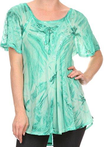 Sakkas 16480 - Taylay Ombre Tie Dye Batik Lange gestickte Korsett Neck Bluse Shirt Top - Seafoam - OS