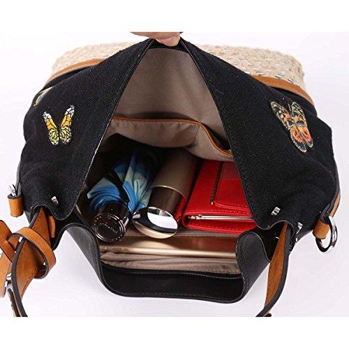 21K Borsa della borsa a tracolla delle donne ha sbottonato il sacchetto del crossbody del tessuto KF1701 nero