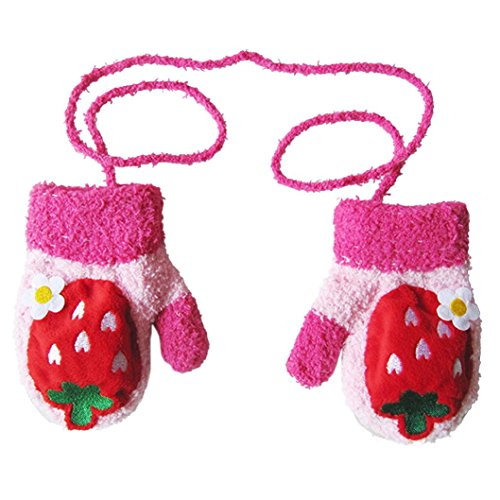 SetMei Infant Baby Girls Boys Cute CartoonThicken Winter Warm Gloves For 2-6 Years old (Red)